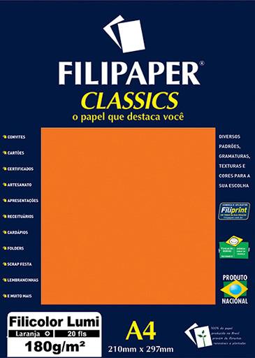 Filipaper Filicolor LUMI 180g/m² (20 folhas; Laranja) A4 - FP00909