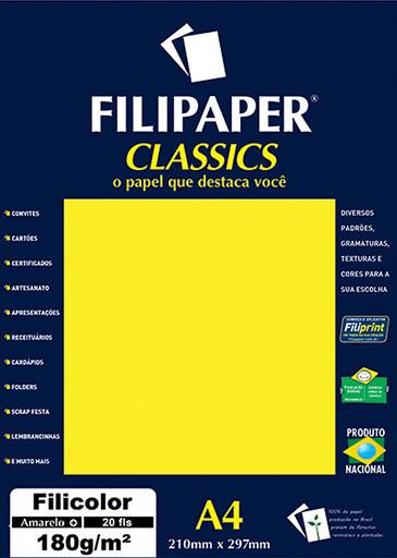 Filipaper Filicolor 180g/m² (20 folhas; amarelo) A4 - FP00912