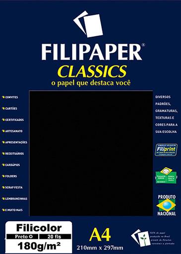 Filipaper Filicolor 180g/m² (20 folhas; preto) A4 - FP00918