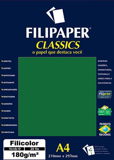 Filipaper Filicolor 180g/m² (20 folhas; verde) A4 - FP00927