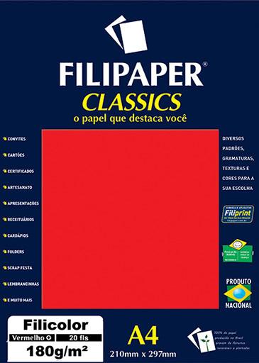 Filipaper Filicolor 180g/m² (20 folhas; vermelho) A4 - FP00928