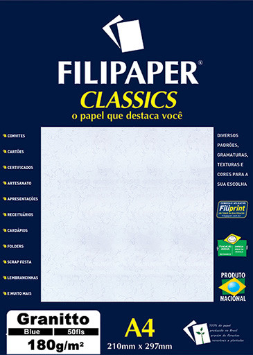 Filipaper Granitto 180g/m² (50 folhas; azul) A4 - FP00961