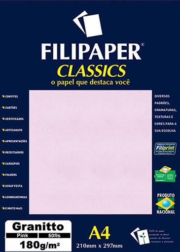 Filipaper Granitto 180g/m² (50 folhas; rosa) A4 - FRETE GRÁTIS - FP00963