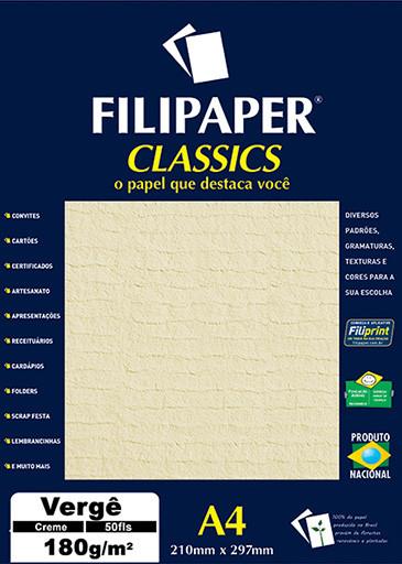 Filipaper Vergê 180g/m² (50 folhas; creme) A4 - FP00981