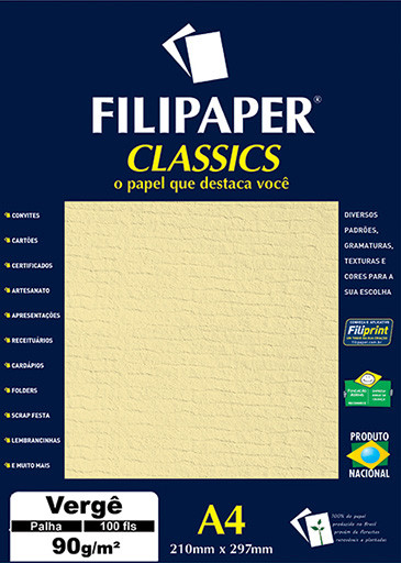 Filipaper Vergê 90g/m² (100 folhas; palha) A4 - FP00982