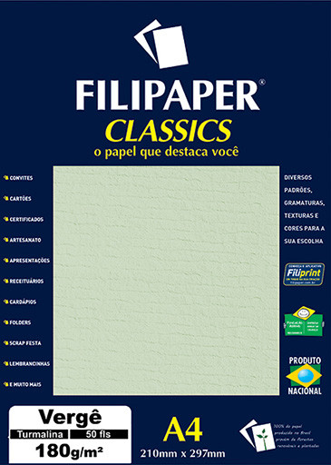 Filipaper Vergê 180g/m² (50 folhas; turmalina) A4 - FP00996