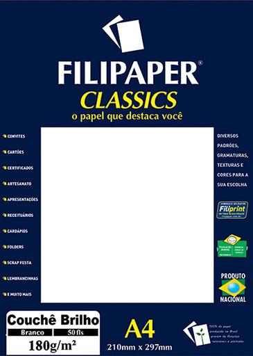 Filipaper Couchê 180g/m² (50 folhas; branco) A4 - FP01047