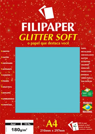 Filipaper GLITTER SOFT 180g/m² (15 folhas; Azul) A4 - FP01300