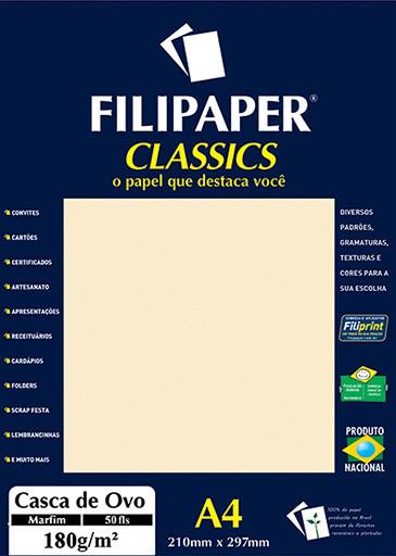 Filipaper Casca de Ovo 180g/m² (50 folhas; marfim) A4 - FRETE GRÁTIS - FP01331