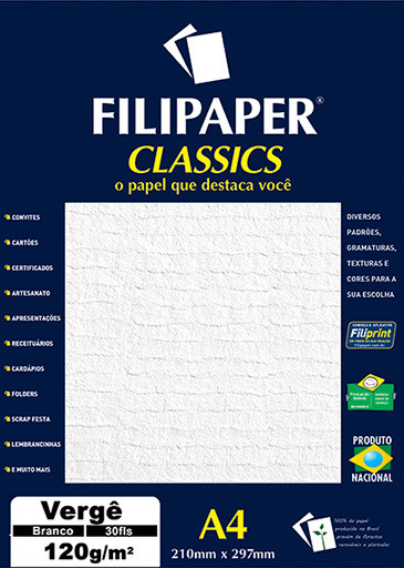 Filipaper Vergê 120g/m² (30 folhas; branco) A4 - FP01869