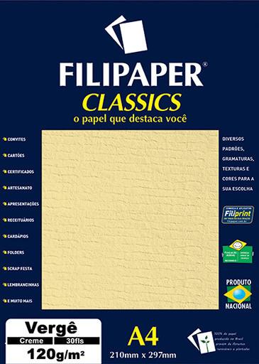 Filipaper Vergê 120g/m² (30 folhas; creme) A4 - FP01873