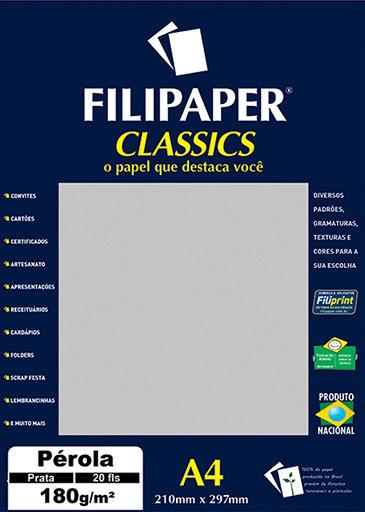 Filipaper CLASSICS PÉROLA PRATA 180g/m² A4 20fls - FP01885