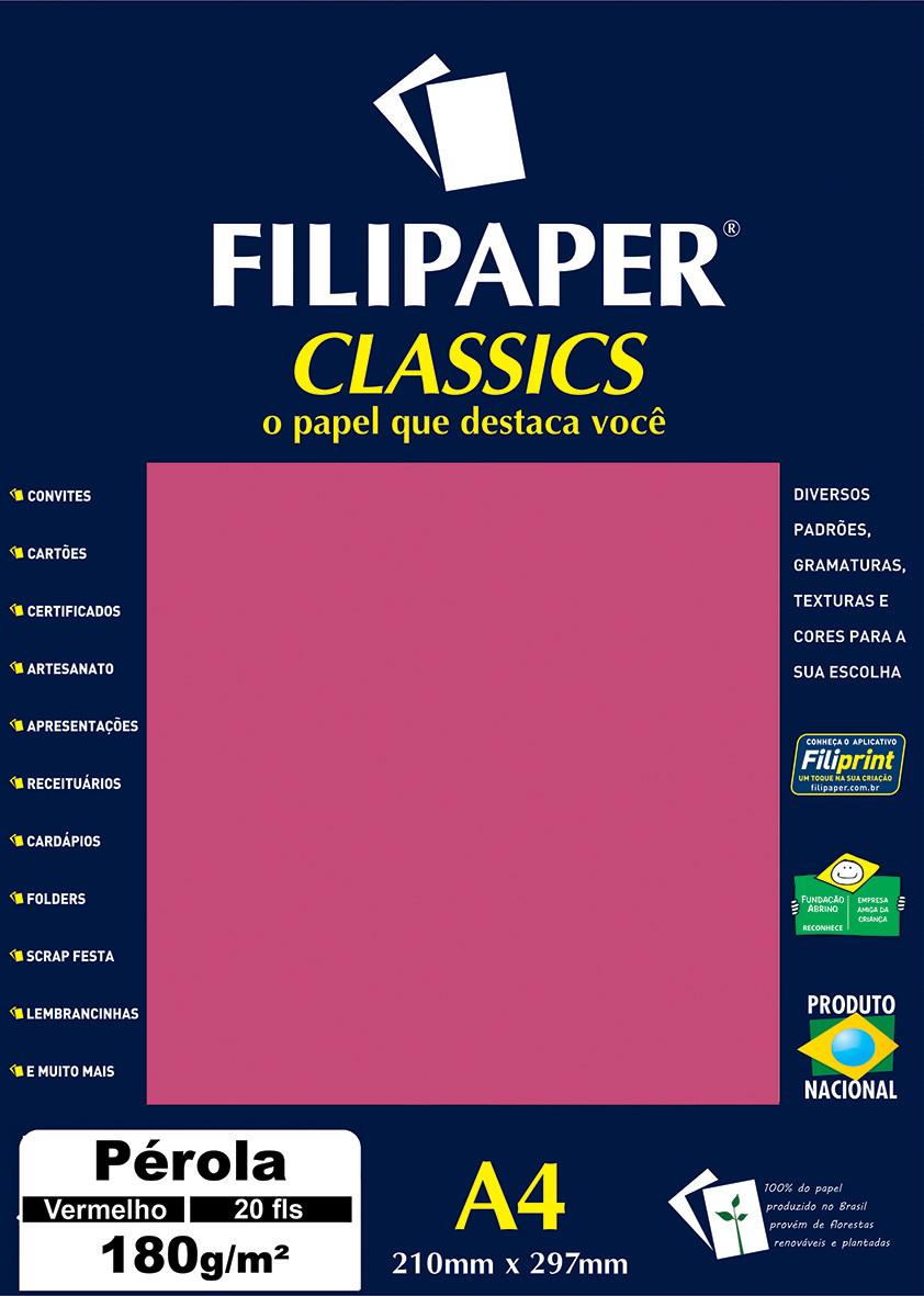 Filipaper CLASSICS PÉROLA VERMELHO 180g/m² A4 20fls - FP01887