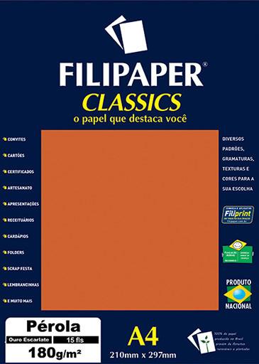 Filipaper CLASSICS PÉROLA Ouro Escarlate 180g/m² A4 15fls - FP01889