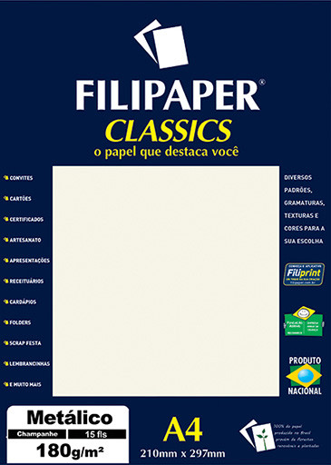 Filipaper CLASSICS METALICO Champanhe 180g/m² A4 15fls - FP01891