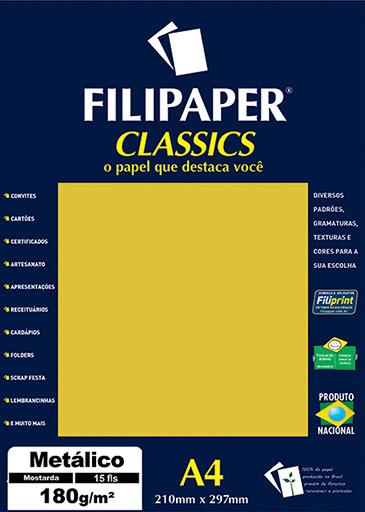 Filipaper CLASSICS METALICO Mostarda 180g/m² A4 15fls - FP01893