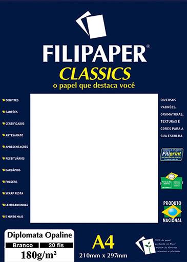 Filipaper Diplomata Opaline 180g/m² (20 folhas; branco) A4 - FP02062