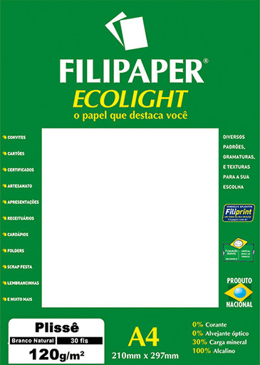 Filipaper ECOLIGHT Plissê 120g/m² (30 folhas; branco natural) A4 FP02081