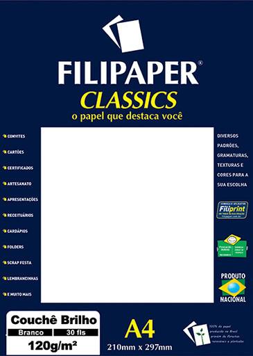 Filipaper Couchê 120g/m² (30 folhas; branco) A4 - FP02249