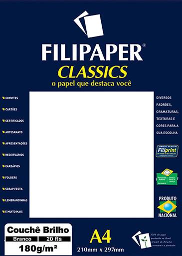 Filipaper Couchê 180g/m² (20 folhas; branco) A4 - FP02251
