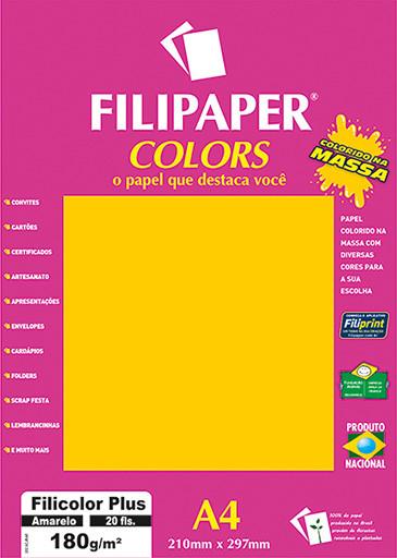 Filipaper COLORS Amarelo 180g/m² A4 20fls - FP02391