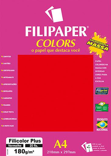 Filipaper COLORS Vermelho 180g/m² A4 20fls - FP02397