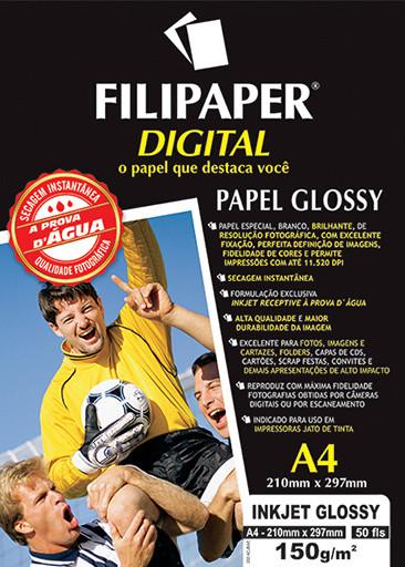 Filipaper InkJet Glossy 150g/m² (50 folhas; branco) A4 - FP02553