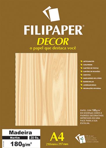 Filipaper DECOR Madeira Marfim - 180g/m² A4 (21cm x 29,7cm) - 20fls - FP02622