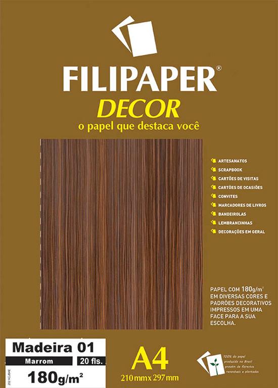 Filipaper DECOR Madeira Marrom 01 - 180g/m² A4 (21cm x 29,7cm) - 20fls - FP02625
