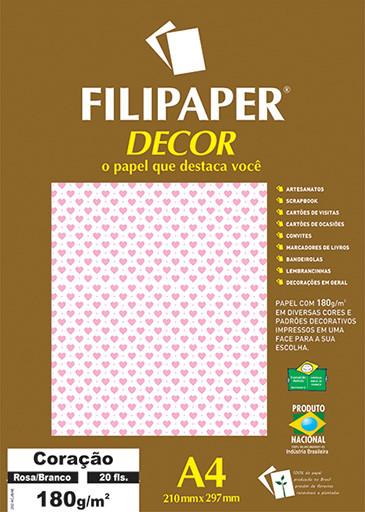 Filipaper DECOR Coração Rosa Branco - 180g/m² A4 (20fls) - FP02656