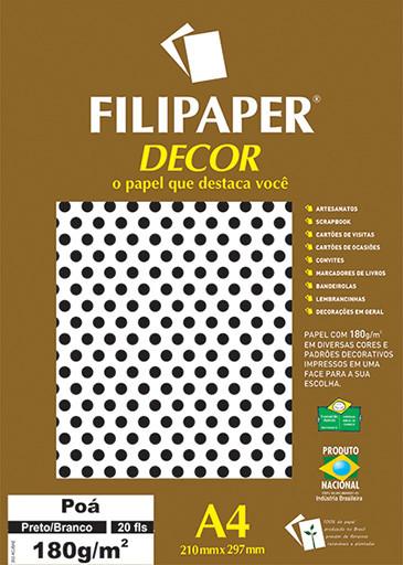 Filipaper DECOR Poá Preto/Branco - 180g/m² A4 (20fls) - FP02674