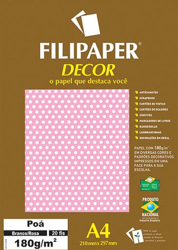 Filipaper DECOR Poá Branco/Rosa - 180g/m² A4 (20fls) - FP02681