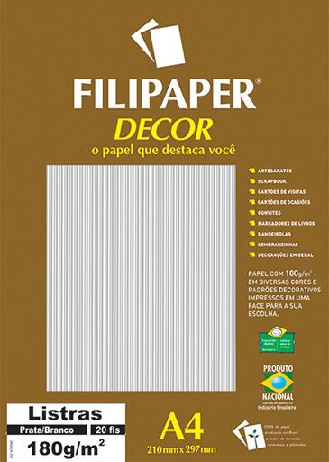 Filipaper DECOR Listras Prata/Branco - 180g/m² A4 (20fls) - FP02710