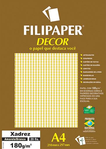 Filipaper DECOR Xadrez Amarelo/Branco - 180g/m² A4 (20fls) - FP02714