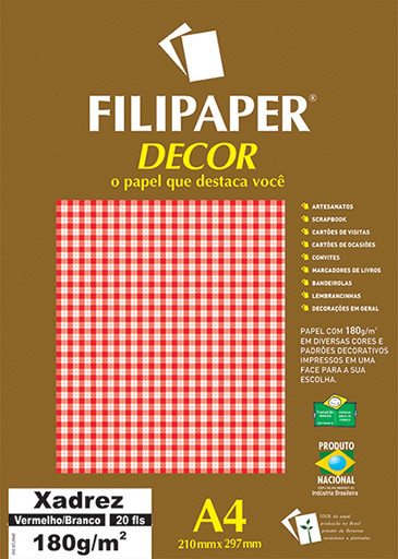 Filipaper DECOR Xadrez Vermelho/Branco - 180g/m² A4 (20fls) - FP02716