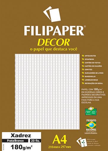 Filipaper DECOR Xadrez Prata/Branco - 180g/m² A4 (20fls) - FP02718