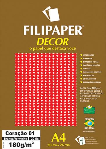 Filipaper DECOR Coração 01 Branco/Vermelho - 180g/m² A4 (21cm x 29,7cm) - 20fls FP02755