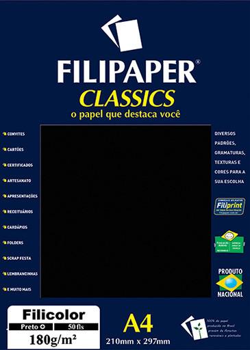 Filipaper Filicolor 180g/m² (50 folhas; preto) A4 - FP03418