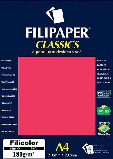 Filipaper Filicolor 180g/m² (50 folhas; pink) A4 - FP03815