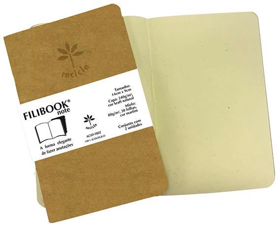 Filibook Note Kraft 80gm² miolo Marfim (P) 14cm X 9cm - FP00761