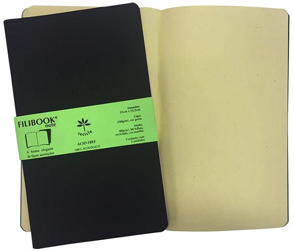 Filibook Note Preto 75gm² miolo Marfim (M) 21cm X 12,5 cm - FRETE GRÁTIS - FP00711