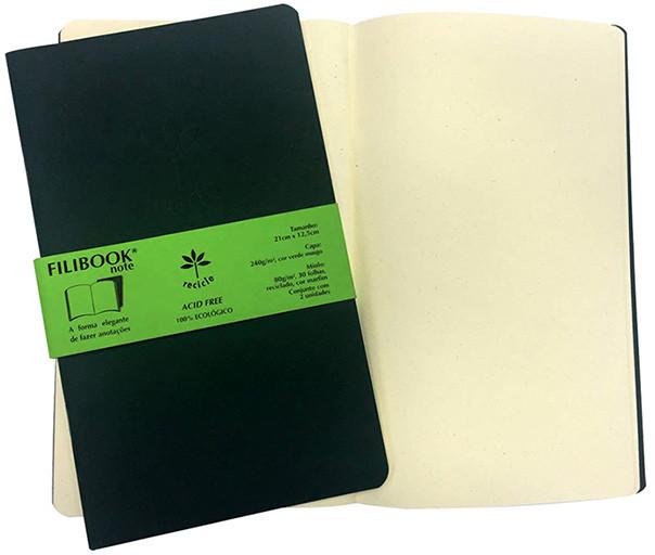 Filibook Note Verde Musgo 75gm² miolo Marfim (M) 21cm X 12,5 cm - FRETE GRÁTIS - FP00713