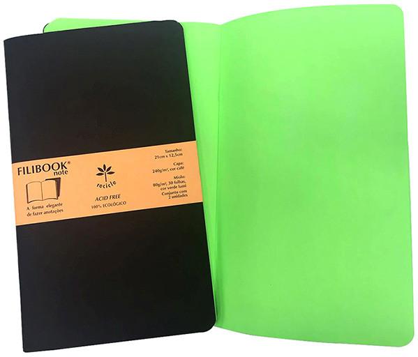 Filibook Note Café 75gm² miolo Verde LUMI (M) 21cm X 12,5 cm - FRETE GRÁTIS - FP00709