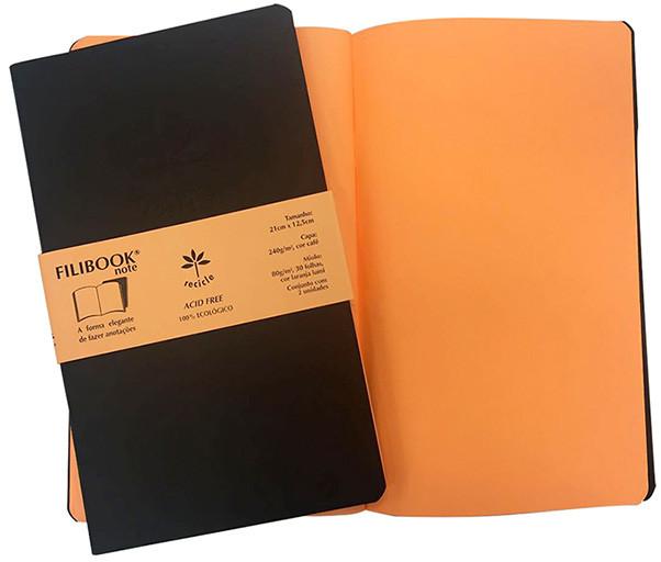 Filibook Note Café 80gm² miolo Laranja LUMI (M) 21cm X 12,5 cm - FP00705