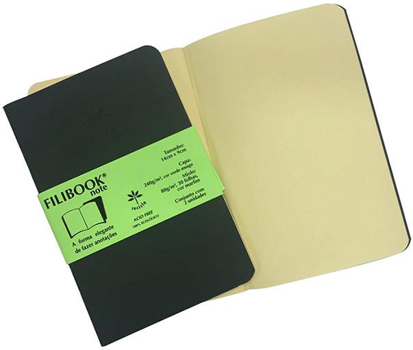 Filibook Note Verde Musgo 80gm² miolo Marfim (P) 14cm X 9cm - FP00712