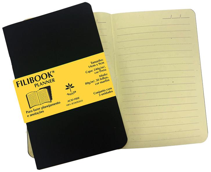 Filibook Note Planner Preto 80gm² miolo Marfim (P) 14cm X 9cm - FP00762