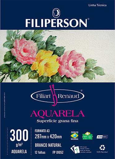 Filiart Renaud Aquarela 300g/m² (12 folhas; branco) A3 - FP01098
