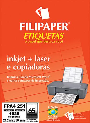 FP A4251 Filipaper Etiqueta 21,2x38,2 mm - 65 etiquetas por folha A4 25 fls - FP04453