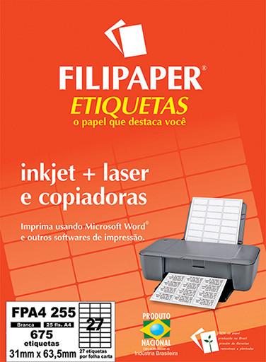 FP A4255 Filipaper Etiqueta 31x63,5 mm - 27 etiquetas por folha A4 25 fls - FP04455
