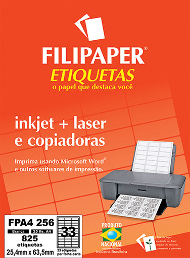 FP A4256 Filipaper Etiqueta 25,4x63,5 mm - 33 etiquetas por folha A4 25 fls - FP04456